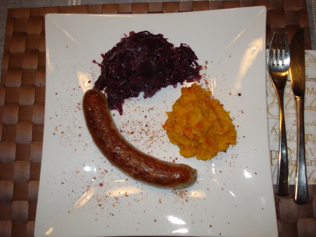 Bratwurst Rezept mit Kürbisgemüse