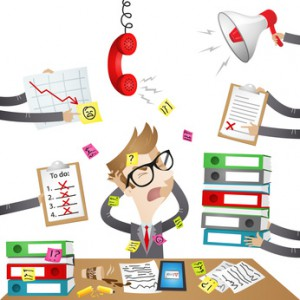 Businessman, desk, chaos, stressed out, paperwork