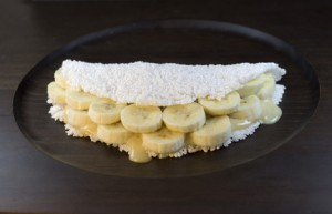 Tapioca de banana. Brazilian traditional food.